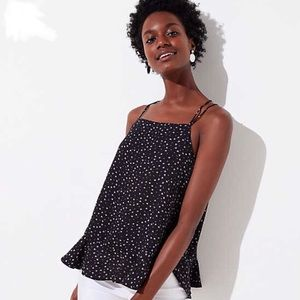 LOFT Cami Blouse Tank Top Strappy Printed Ruffles